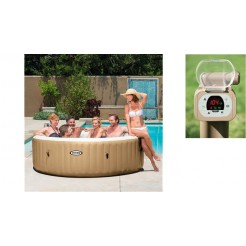 Intex 28408 PureSpa Bubble Therapy Jacuzzi 6-Persoons Set 216/165x71cm