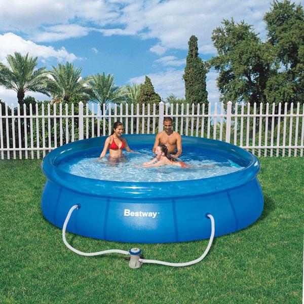 Zwembaden bestway zwembad fast set met pomp 366x76cm for Zwembad rechthoekig met pomp